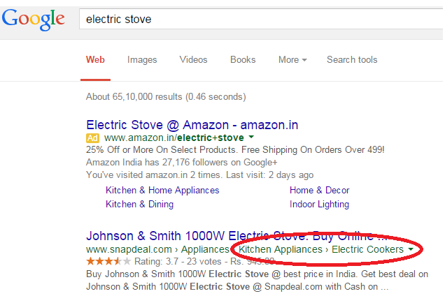 Google Search Result for Ecommerce Website