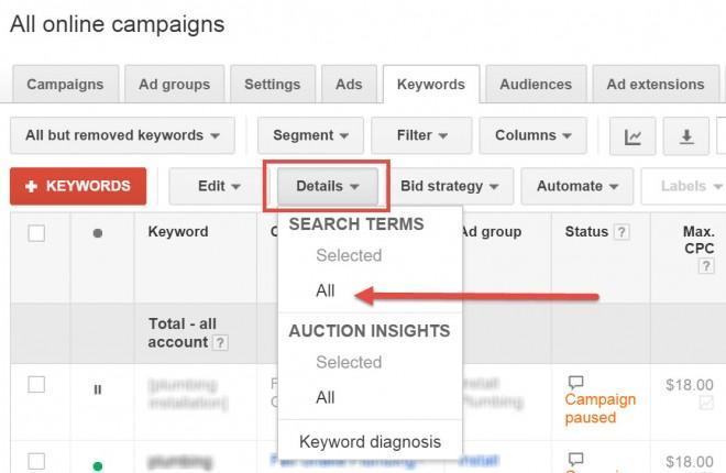 Search Term in Adwords